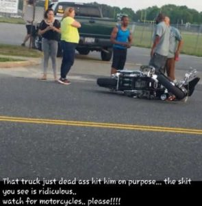Facebook comment about motorcycle hit on purpose